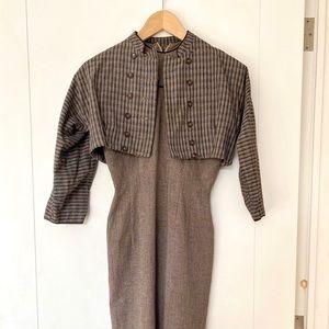 Vintage 2pc wiggle dress w/cropped bolero jacket